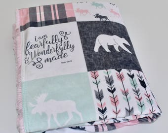 Pink and mint woodland minky blanket, pink and grey, light pink double minky, doe, fawn, bear