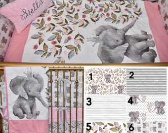 Floral elephant crib bedding - safari, crow, princess, leave, baby girl, nursery, fitted sheet, changing mat cover, bumpers