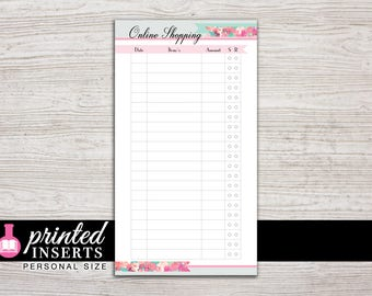 Printed Planner Inserts - Online Shopping Tracker - Personal Size - 3.75 x 6.75 in. - Design: Flirty Girl