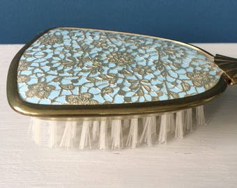 Hair Brush, Vintage Vanity Gold Tone Metal Handle, Gold Horseshoes & Flowers Embroidery, Mid Century, Excellent Condition