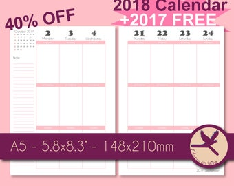40% OFF PRINTABLE A5 2018 Calendar + 2 FREE Bookmarks and 2017 Calendar