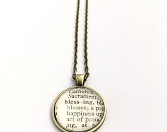 BLESSING Vintage Dictionary Word Pendant