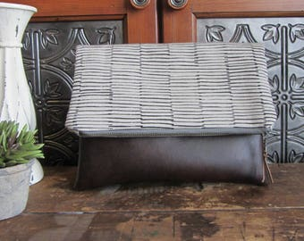 Large Fold Over Clutch Bag - Gray and Black Stripe with Brown Vegan Leather Bottom, Foldover Zipper Clutch, Gray Clutch Bag