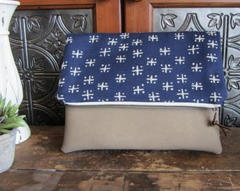 Large Fold Over Clutch Bag - Navy Cross with Tan Vegan Leather Bottom, Foldover Zipper Clutch, Navy Clutch Bag