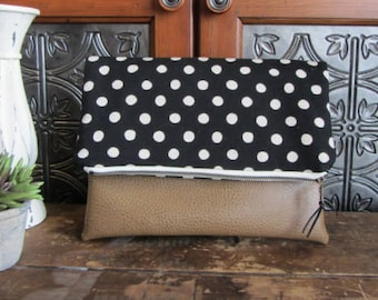 Large Fold Over Clutch Bag - Black Dots with Brown Vegan Leather Bottom, Foldover Zipper Clutch, Black Dots Clutch Bag