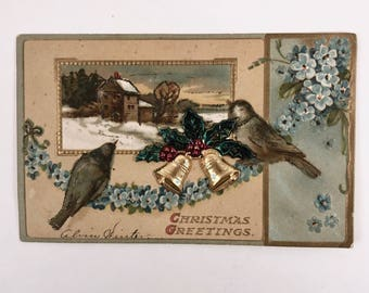 Vintage Christmas Postcard, International Art Publishing Company, Country Farm House Scene, Post Card Printed in Germany, 3D Design,