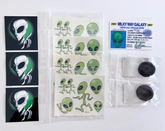 Alien Tattoos, UFO Driver's License and Area 51 Permit, Alien Stickers, 2 Alien Hologram Pins, The Truth is Out There, 10 Piece Collection