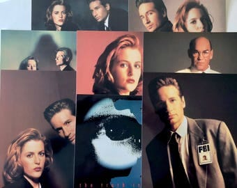 X-Files Postcards, Vintage Large 8 x 10 Post Cards, Agent Mulder, Scully, Skinner, Broken X  Eye Logo, Set of 8 Post Cards