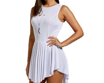 White Casual Sleeveless All Purpose Tunic Dress - White