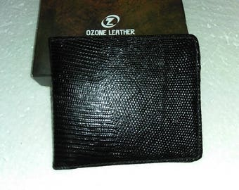 Real Lizard Skin Leather Men's Bifold Wallet Free Shipping