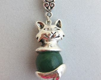 Necklace pendant cat, Puss Malay Jade and Swarovski Crystal