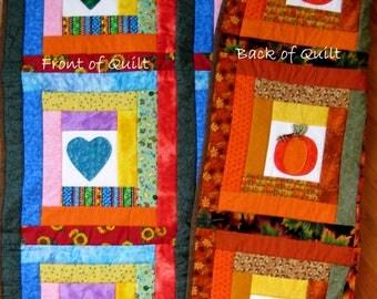 Heart Quilt, Pumpkin/Heart Quilt, Handmade Fall Harvest Quilt, Quilt Art Decor, Wedding Quilt, New Housewarming Gift, Heart Applique Quilt