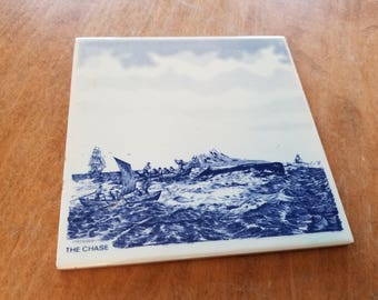 Blue Delft hand painted Holland The chase whale tile  6x6 inch Tile