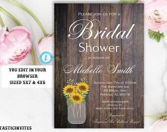 Sunflower Rustic Bridal Shower Invitation Template, Editable, Printable, Sunflower Bridal Shower, Bridal Shower Invitation, INSTANT DOWNLOAD