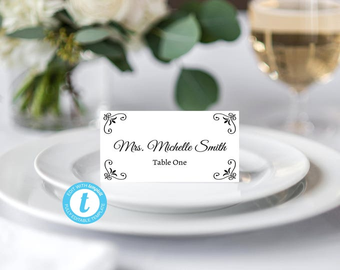 Place Card Template, Food Tent Template, Wedding Place Cards Template, Wedding Template, Cursive Script, Elegant Place Card, Template, DIY