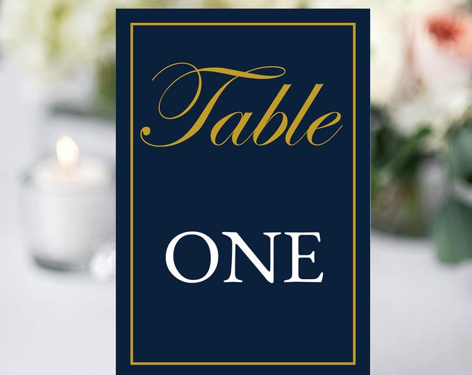 Wedding Table Number Card, INSTANT DOWNLOAD, YOU Edit, Navy Wedding Table Card, Blue and Gold Number, Blue & Gold Wedding, Table Template