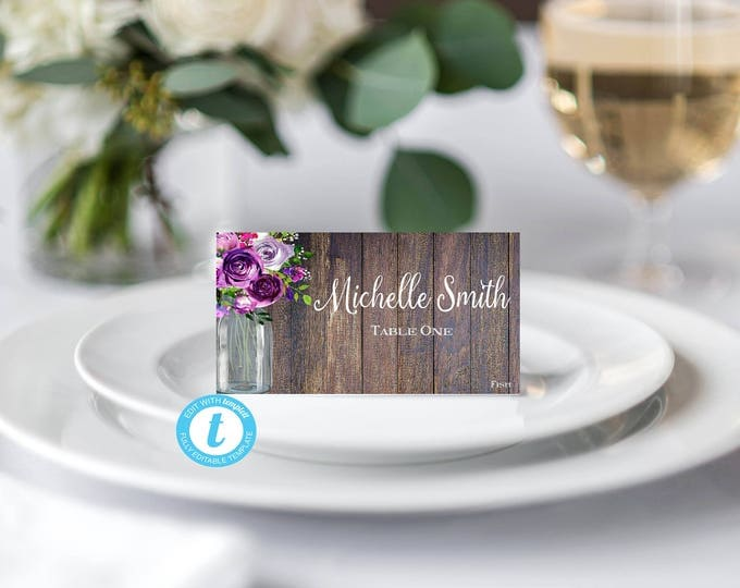 Place Card Template, Escort Card Template, DIY Wedding, You Edit, Editable Name Card, Name Card, Seating Card, Rustic, Rustic Template, DIY