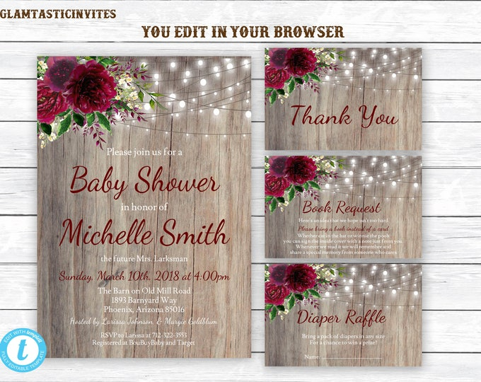 Baby Shower Invites with Diaper Raffle Card and Book Request Card, Baby Shower Invitation Template Set, Rustic Floral Baby Shower Template