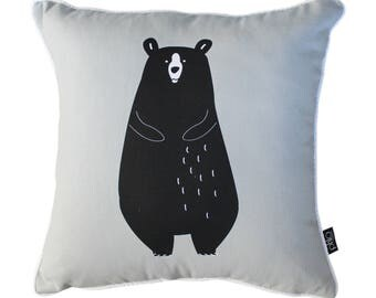Grey Grizzly Bear Cushion