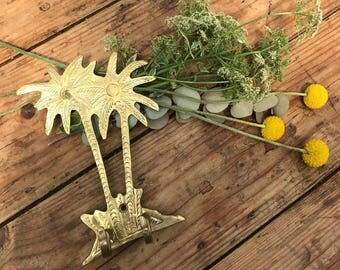 BRASS KEY HOOKS: Tropical palm tree shaped, Hollywood regency style hand made in Morocco.