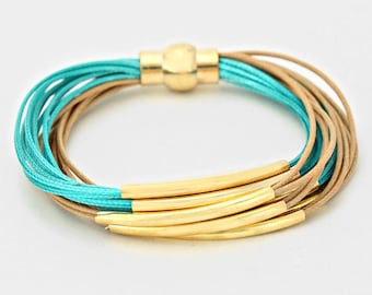 Teal & Gold Curve Tube Multi Strand Magnetic Bracelet