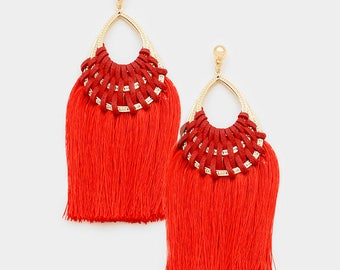 Red Woven Thread Teardrop Tassel Earrings