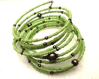 Vintage Green Bead wrap bracelet