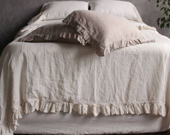 100% Linen Duvet Cover Set Softened Washed Organic Linen Duvet Cover with frills 4 sides + 2 Pillowcases with ruffles 4 sides Queen King US