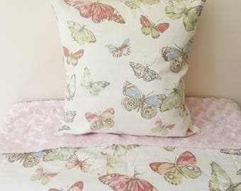 "Pastel Butterfly Cushion Cover, Decorative Pillow, Butterfly Pillow, Nursery Decor - 14"" x 14"" - Ready for Dispatch"