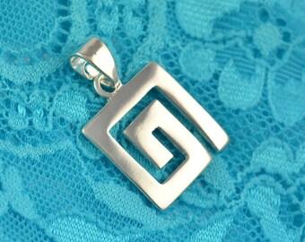 greek key silver pendant, meander pendant, greek key pendant, greek pendant, greek jewelry, goddess jewelry, labyrinth pendant, greek