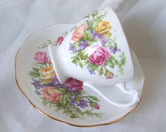 Roslyn China Royal Rose Teacup and Saucer Duo c.1950