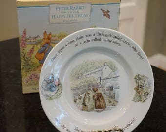1996 Wedgwood Lucie/Peter Rabbit Happy Birthday Plate/ Beatrix Potter/ Fine China Plate/ Original Box/ Cat