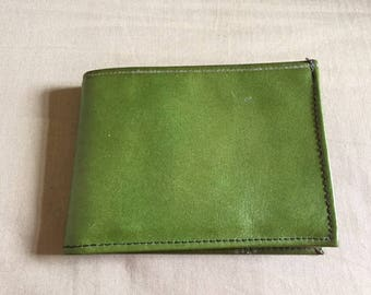 Vintage Green Leather Bifold Wallet