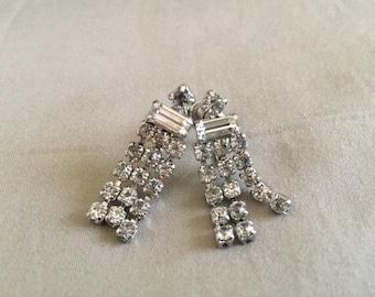 Vintage Silver Rhinestone Dangle Earrings