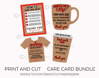 Care Cards Instruction and Application Bundle - Print and Cut Files - Vinyl Instructions - Silhouette Cameo and Cricut - SVG Marketing