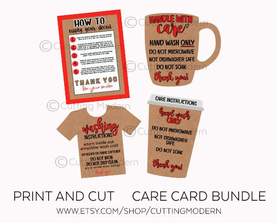 Care Cards Instruction And Application Bundle Print And Cut - Custom vinyl decal application instructionscare card printable care card instructions printable care