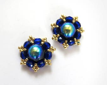 Royal blue gold studs, Royal Blue Stud earrings, Bridal Sapphire Blue Post earrings, Bridesmaids Earrings Gold, Sapphire clip on earrings