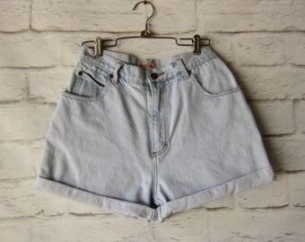 Vintage High Waisted Cuffed Denim Shorts Size 27- Grunge - Hipster - HIGH WAIST- Concert Festival