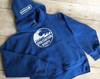 Vintage Children's Tsunami Hoodie - Kids Sweatshirt - Blue - White - Size 6/7 Medium