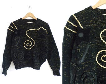 Metallic Chunky Sweater, 1980s Black & Gold Chunky Pullover Funnel Neck Sweater Geometric Abstract Applique Womens Vintage Jumper Small