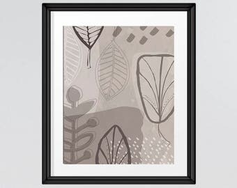 Mid Century Modern Leaf Art in warm beige and greys, hand drawn leaves retro print, nature art INSTANT DOWNLOAD