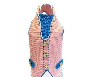 Crochet Gilet for wine bottle, Cover bottle, Bottle decorations, Salmon wine cozy, Decorazione Gilet bottiglia