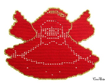 Red Christmas crochet angel doily, Handmade angel doily, Centrino rosso di Natale a forma di angelo