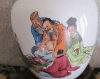 Chinese Qianlong Period Style Ginger Jar Hand Painted Details Blue Markings  Great Clollectible
