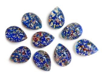"Vintage Cherry Brand Sapphire Fire Opal Glass Cabochon, with ""gold"" leaf, Japan - 18x13 mm pear/tear drop - 2 pcs - B29-5"