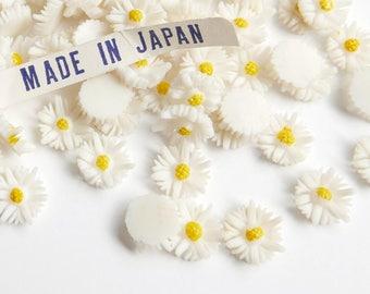 Vintage Daisy Flower Cabochon, aceteloid, 1960s, Japan - 8 mm - 24 pcs - C66-8