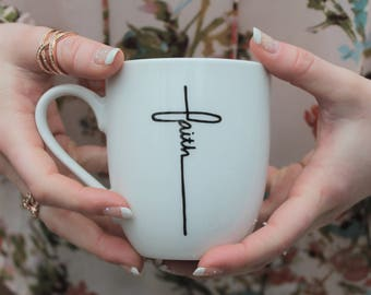 Cute coffee mug, coffee mug, unique coffee mug, christian mug, mug, white mug, faith mug, faith, unique mug, tattoo, jesus mug, hipster mug