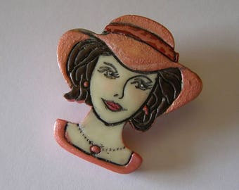 Vintage/mod/http://lesreinesdushopping.blogspot.fr/ resin brooch pin / / celluloid/antiquityfrench/celluloid jewelry