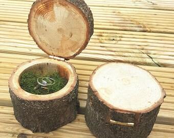 Ring Box, Wedding Ring Box, Engagement Ring Box, Wood, Tree Box, Rustic, Bark