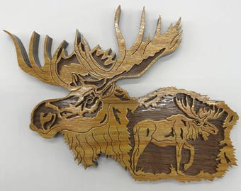 Nature's Majesty Moose Plaque - Canarywood & Walnut